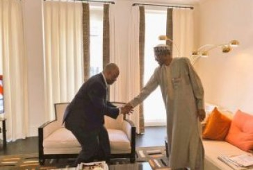 Akpabio meets Buhari in London